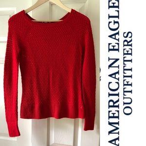 American Eagle Zip Back Crew Sweater-XS